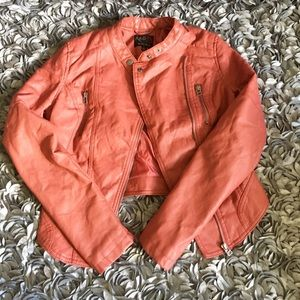 Dusty Rose faux leather jacket